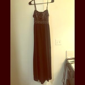 Black with white stitching Maxi dress